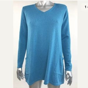 Pure J Jill Tunic Sweater Cotton Cashmere Blue S